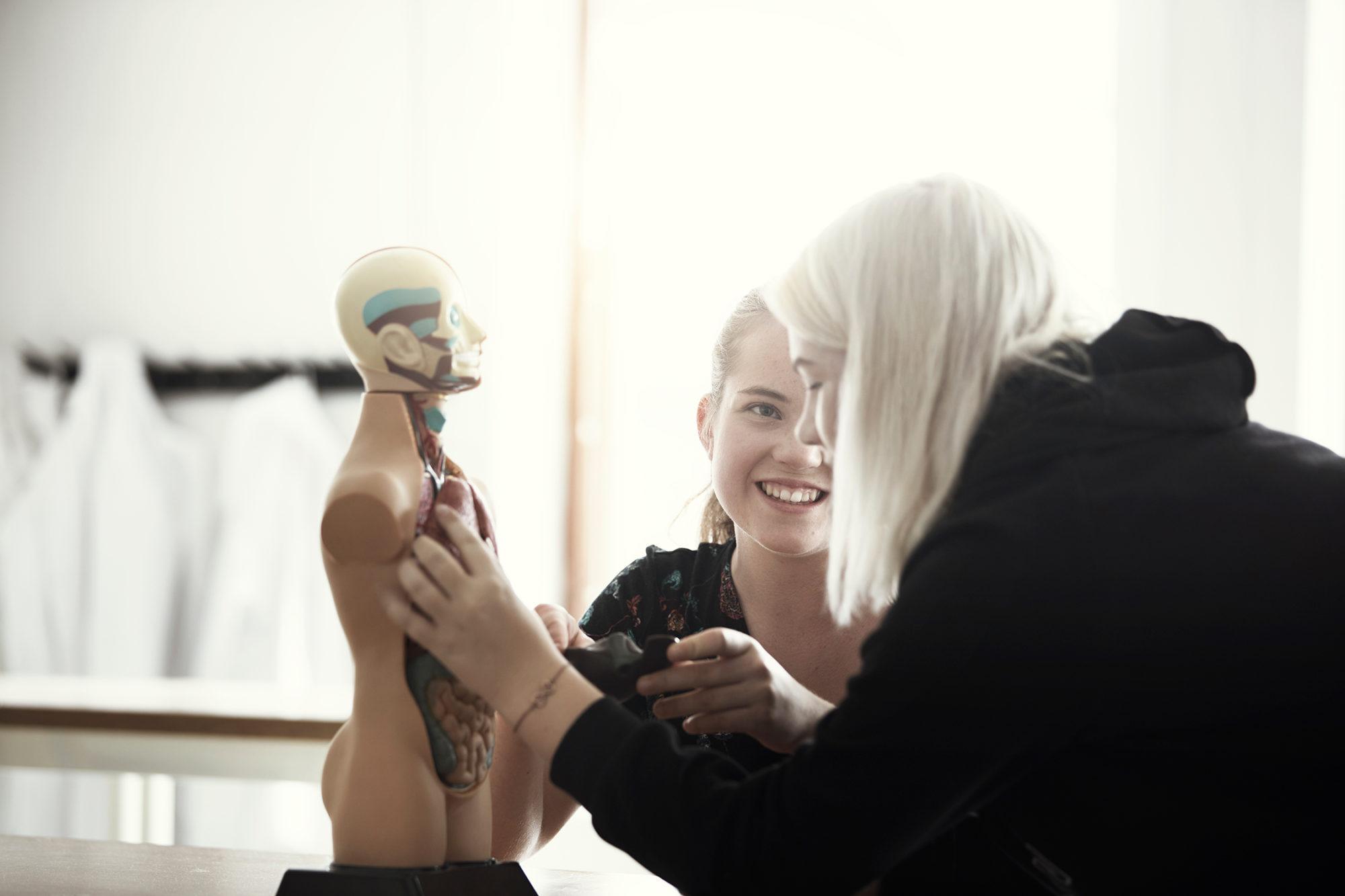 Två elever undersöker kroppens anatomi på miniatyr docka under lektion